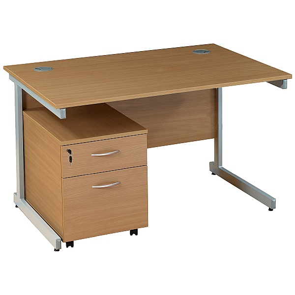 NEXT DAY Solar Rectangular Cantilever Desks With Mobile Pedestal