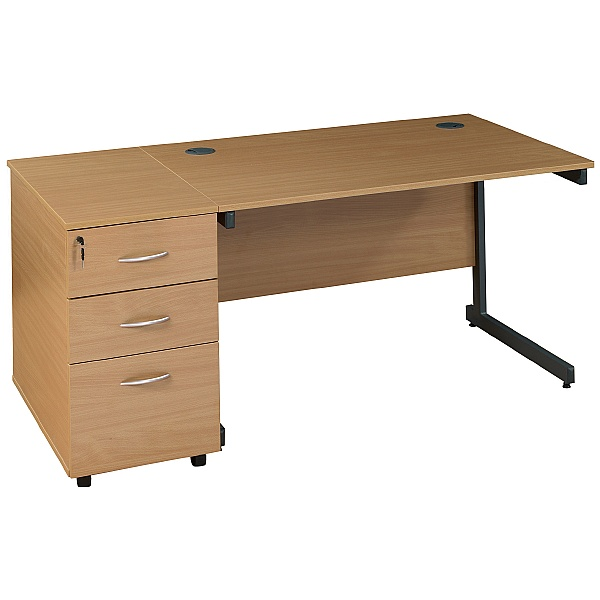 NEXT DAY Solar Rectangular Cantilever Desks With Desk High Pedestal
