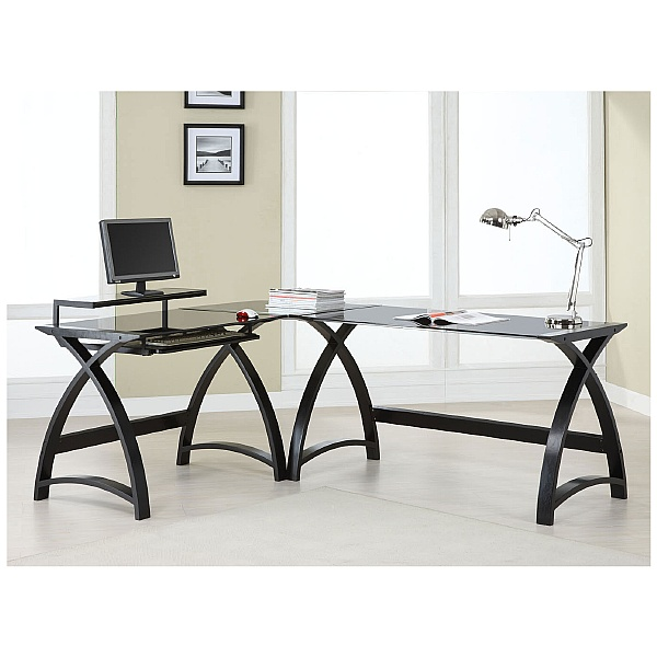 Spectrum Corner Desk Link Black Glass
