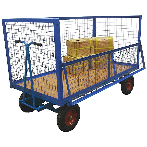 Heavy Duty Wire Mesh Hand Drawn Platform Truck