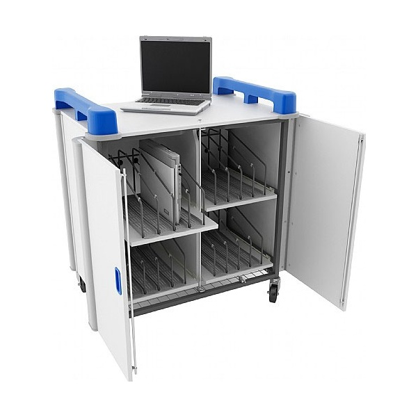 LapCabby Connect 16V - 16 Vertical Laptop Store and Charging Trolley