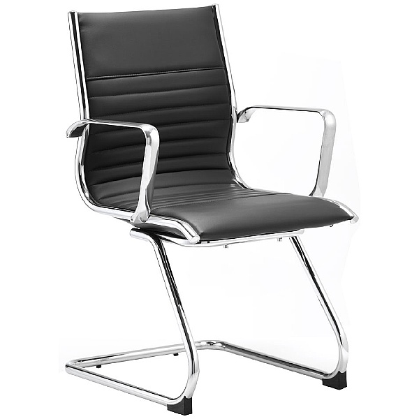 Premio Black Leather Faced Cantilever Chair