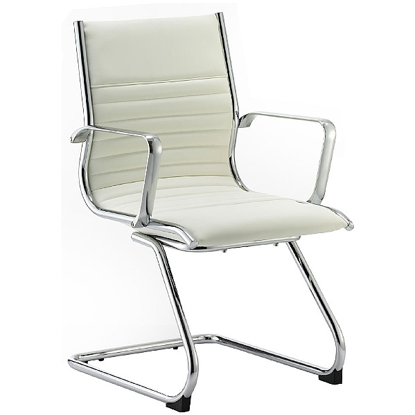 Premio Ivory Leather Faced Cantilever Chair