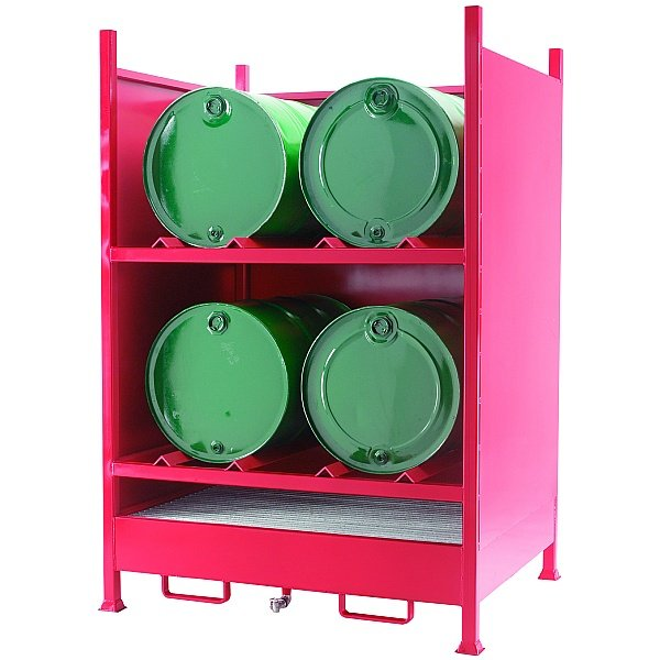Drum Sump Storage System With Sides for 4 Horizontal Drums