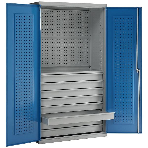 Redditek Double Door Euro Cabinet with 8 Drawers