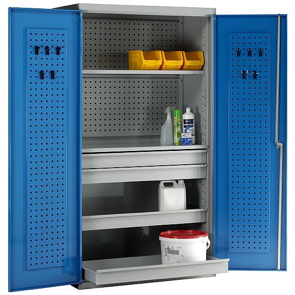 Redditek Double Door Euro Cabinet with Shelves and Drawers