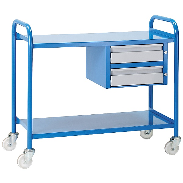 Steel 2 Shelf Trolley With Drawers
