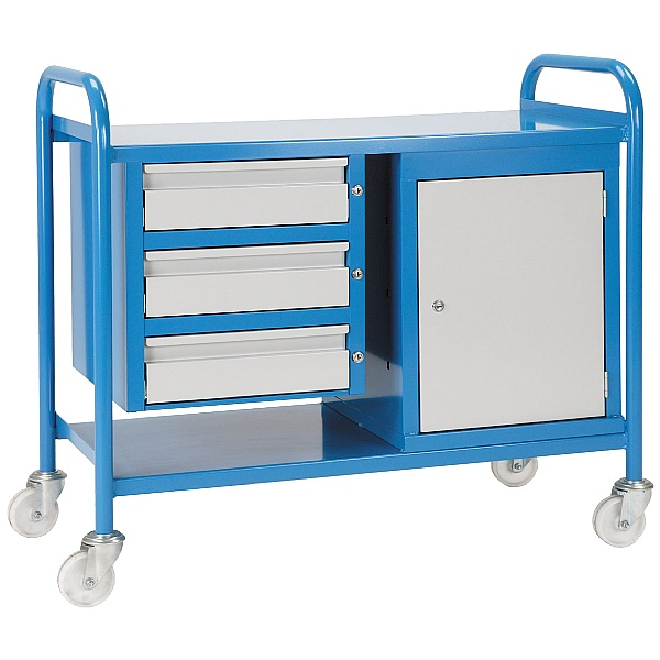 Steel Shelf Trolley 3 Drawers & Cabinet