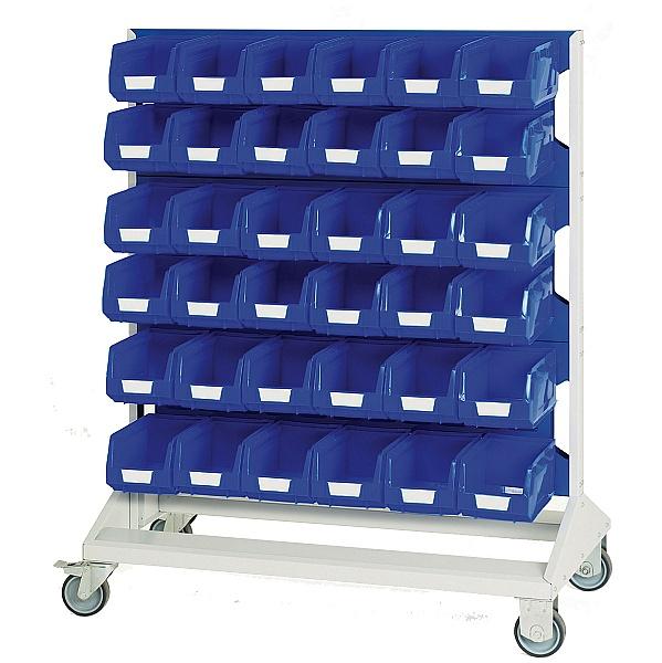 Bott Mobile Perfo Louvre Panel Rack With 72 Blue Bins