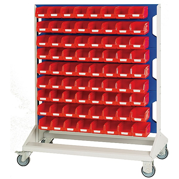 Bott Mobile Perfo Louvre Panel Rack With 144 Red Bins