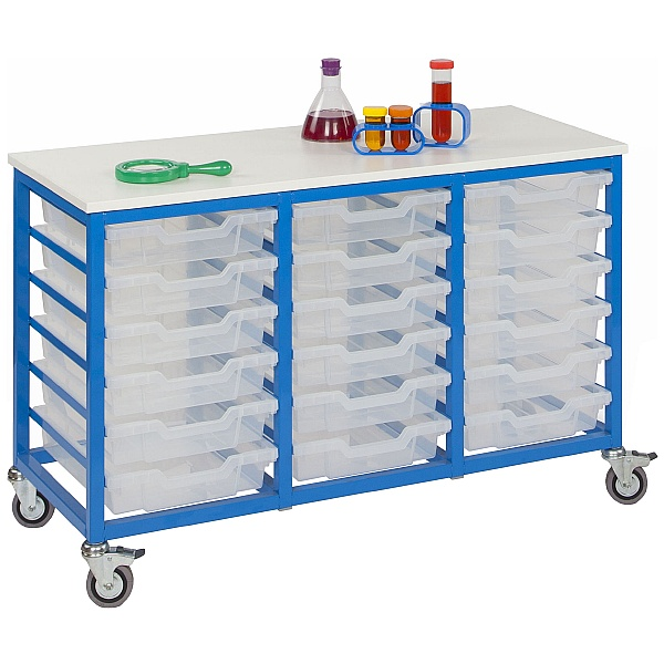 Mobile Triple Column 18 Tray Trolley