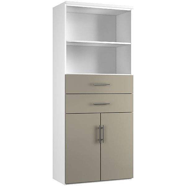 Reflections Stone Grey Double Door Combination Cupboard With Drawers And Shelves