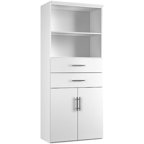 Reflections White Double Door Combination Cupboard With Drawers And Shelves