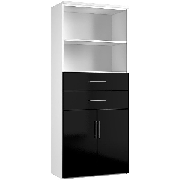 Reflections Black Double Door Combination Cupboard With Drawers And Shelves