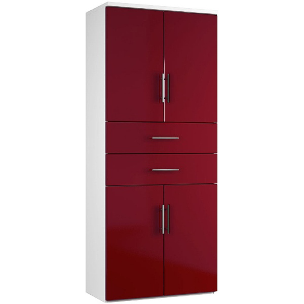 Reflections Burgundy Twin Double Door Combination Cupboard With Drawers