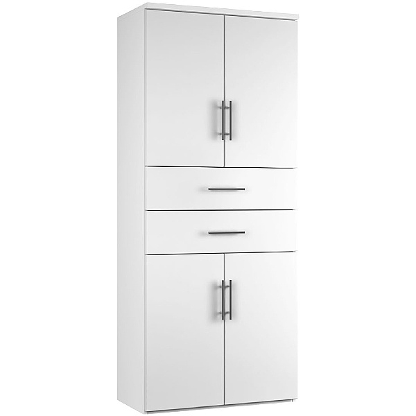 Reflections White Twin Double Door Combination Cupboard With Drawers