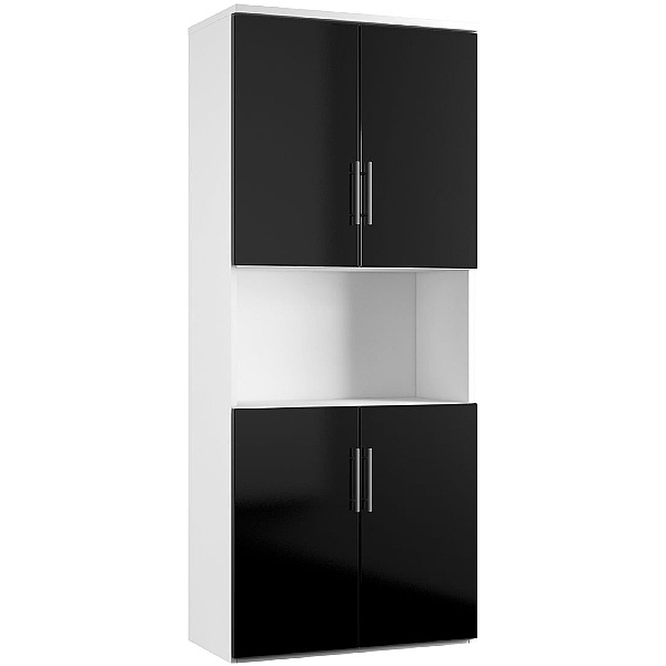 Reflections Black Twin Double Door Combination Cupboard
