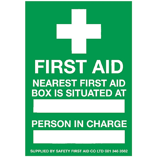 First Aid Box Location Sign