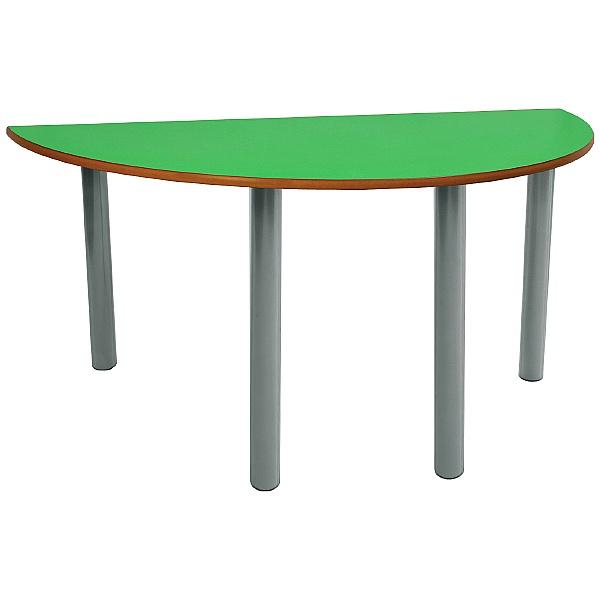 Scholar Light Grey Frame Heavy Duty Semi-Circular Cylinder Legged Tables