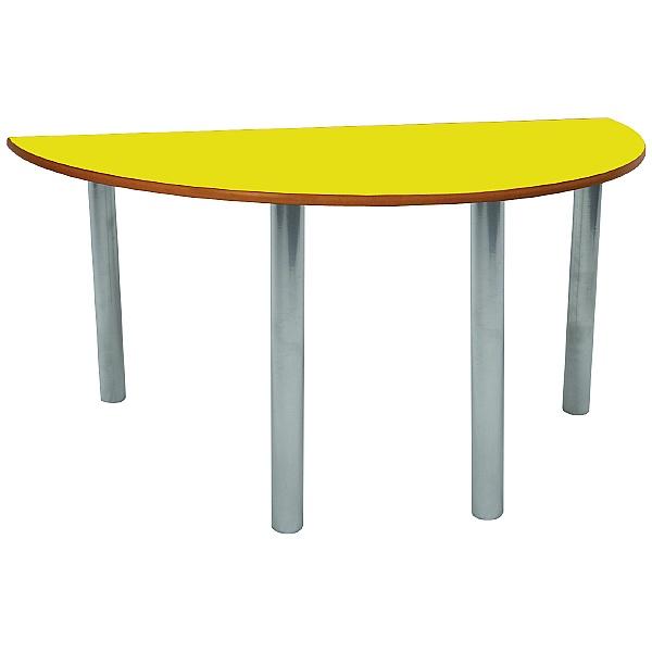 Scholar Silver Frame Heavy Duty Semi-Circular Cylinder Legged Tables