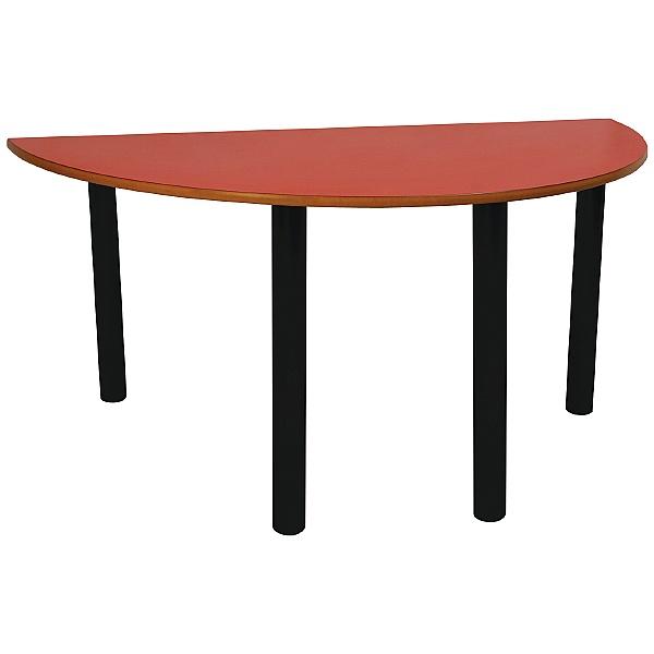 Scholar Black Frame Heavy Duty Semi-Circular Cylinder Legged Tables