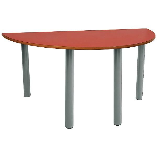 Scholar Light Grey Frame Super Heavy Duty Semi-Circular Cylinder Legged Tables