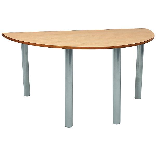 Scholar Silver Frame Super Heavy Duty Semi-Circular Cylinder Legged Tables