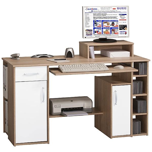 Alaska Computer Desk Oak/White