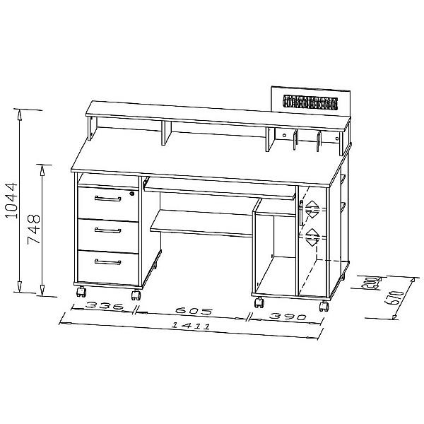 Seaton Computer Desk Oak/White