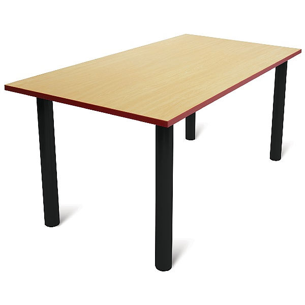 Scholar Black Frame Heavy Duty Rectangular Cylinder Legged Tables