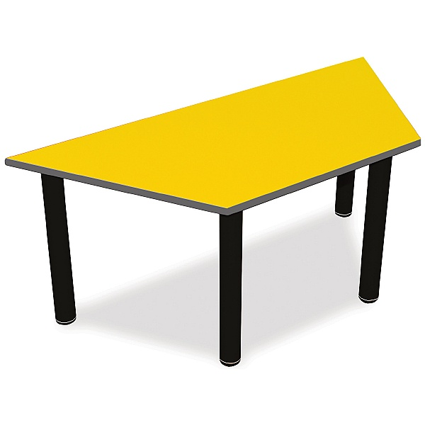 Scholar Black Frame Super Heavy Duty Trapezoidal Cylinder Legged Tables