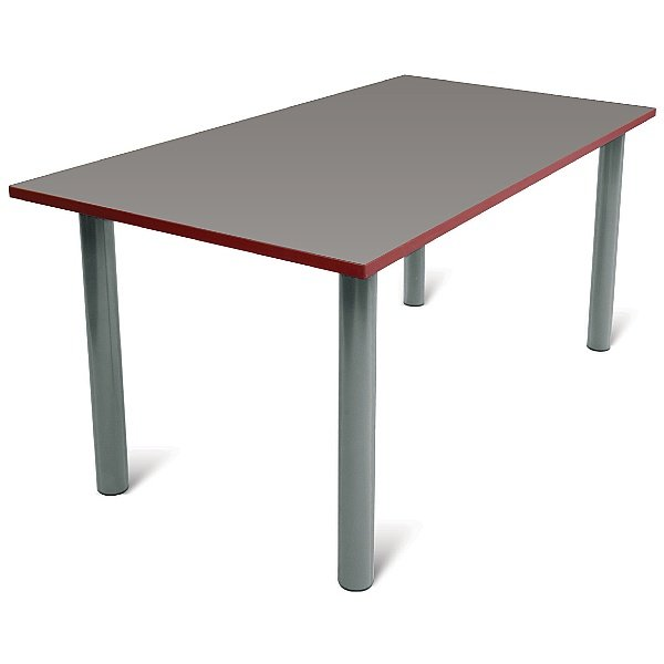 Scholar Light Grey Frame Super Heavy Duty Rectangular Cylinder Legged Tables