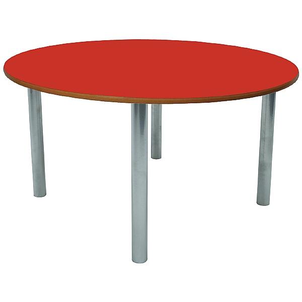Scholar Silver Frame Heavy Duty Circular Cylinder Legged Tables