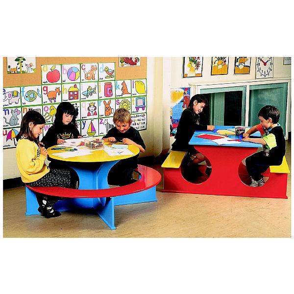 Circular Rainbow Bench Table