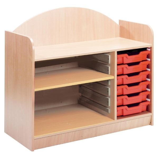 Stretton 6 Tray Triple Bay Storage Unit With Adjustable Shelf