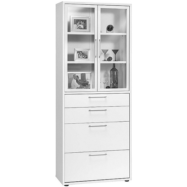 Venture in Harmony Tall Combination Glass Door Cupboard With Drawers