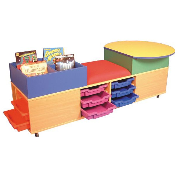 Mobile Kinder Seat, Tray & Activity Storage Unit