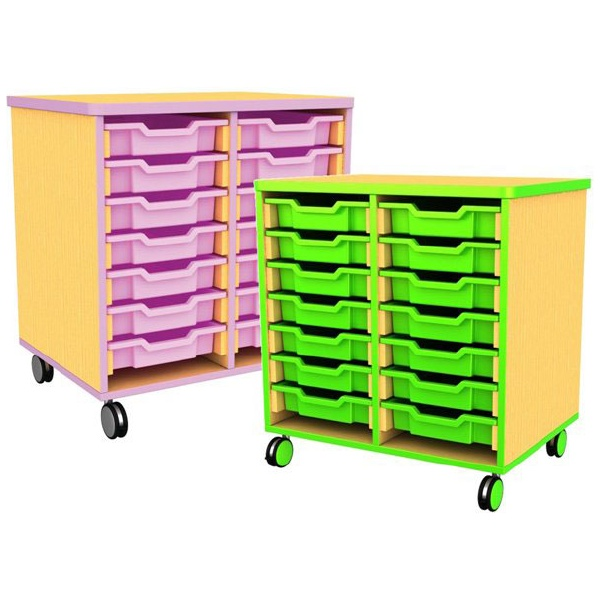 Edge Double Bay Mobile Shallow Tray Units