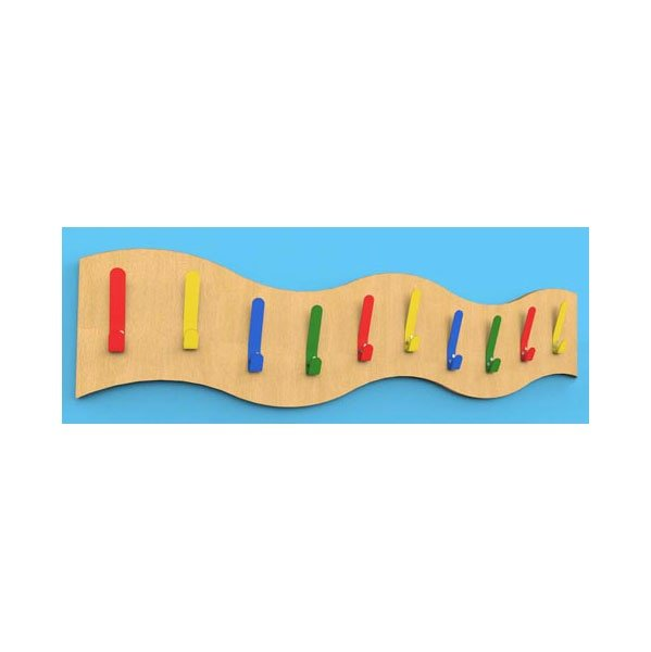 Multi-Coloured Wave Classroom Coat Hook Rails