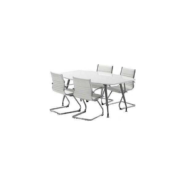 White Lumina High Gloss Boardroom Table