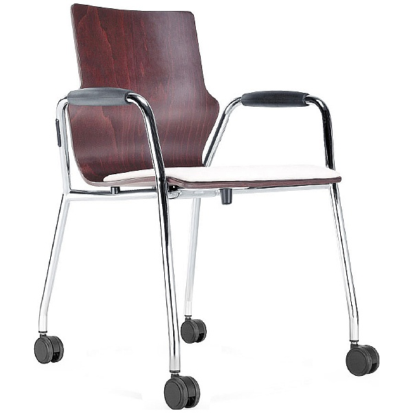 BN Leather Padded Wooden Mobile Conversa Chair