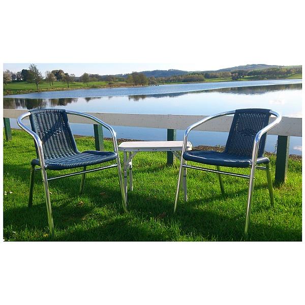 Aluminium Wicker Armchair Blue