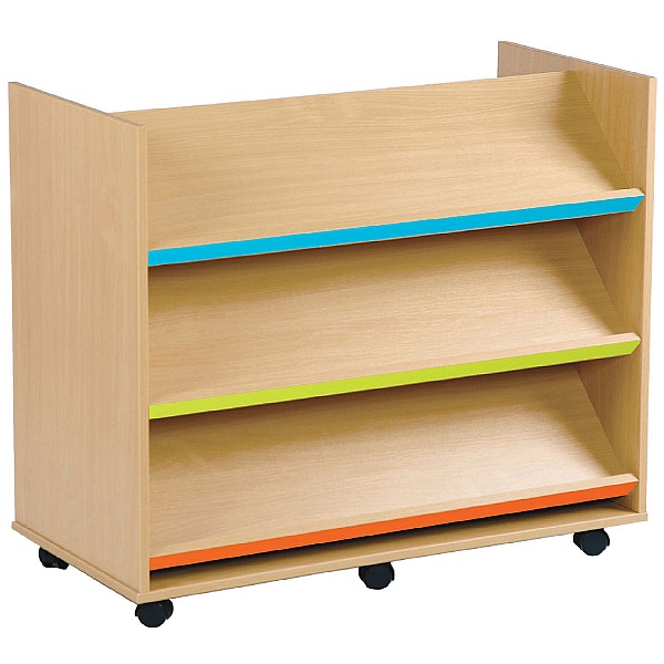 Bubblegum 3 Angled Coloured Shelves Library Unit