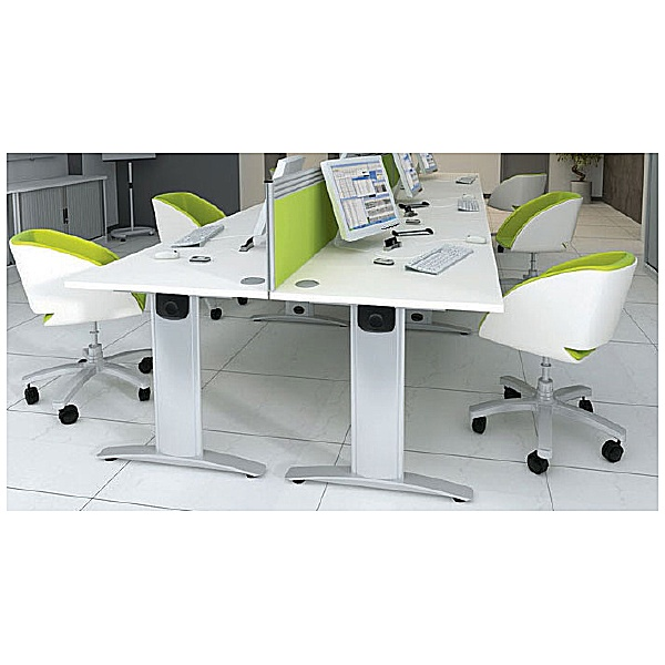 Protocol iBeam Double Wave Desk With Cupboard Pedestal