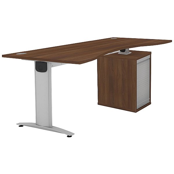 Protocol iBeam Double Wave Desk With Tambour Pedestal