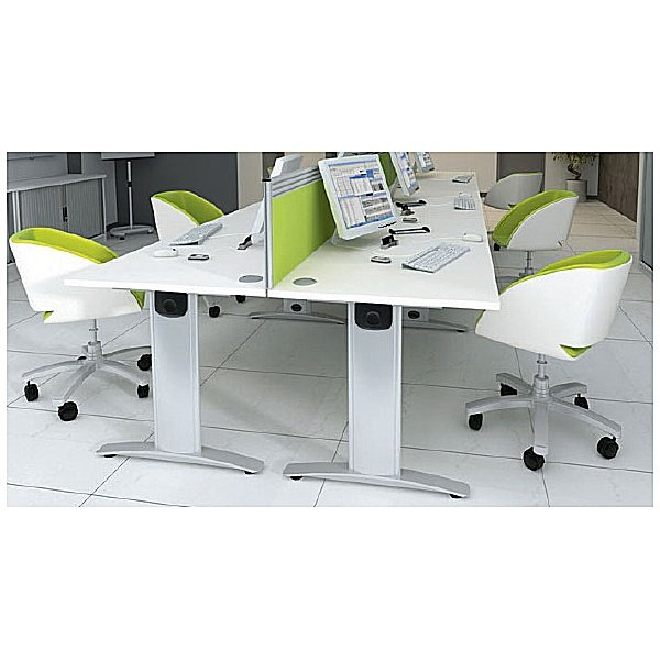 Protocol iBeam Double Wave Desk With Open Pedestal