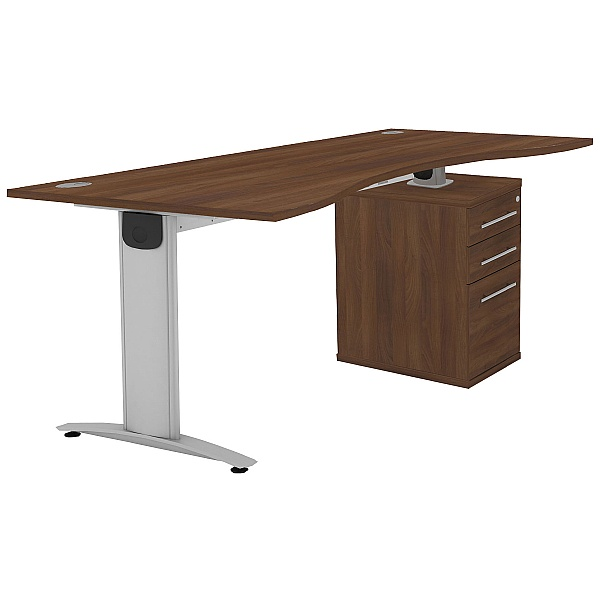 Protocol iBeam Double Wave Desk With High Pedestal