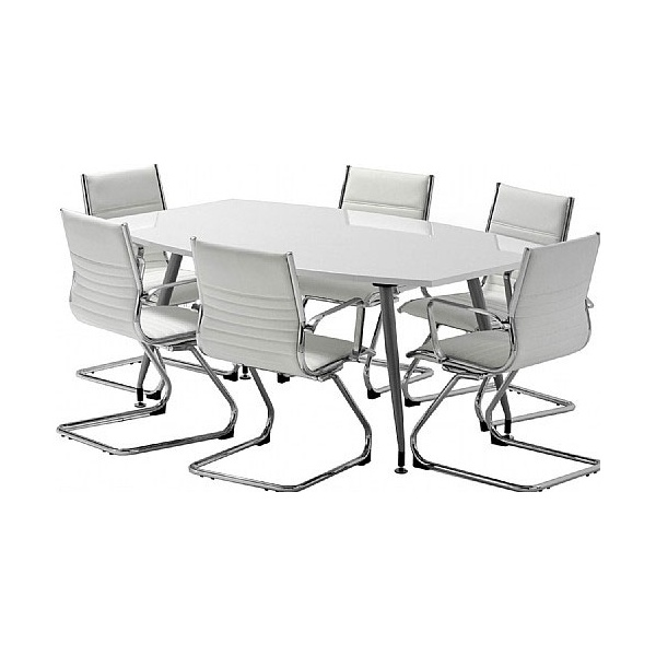 White Lumina High Gloss Boardroom Bundle Deal