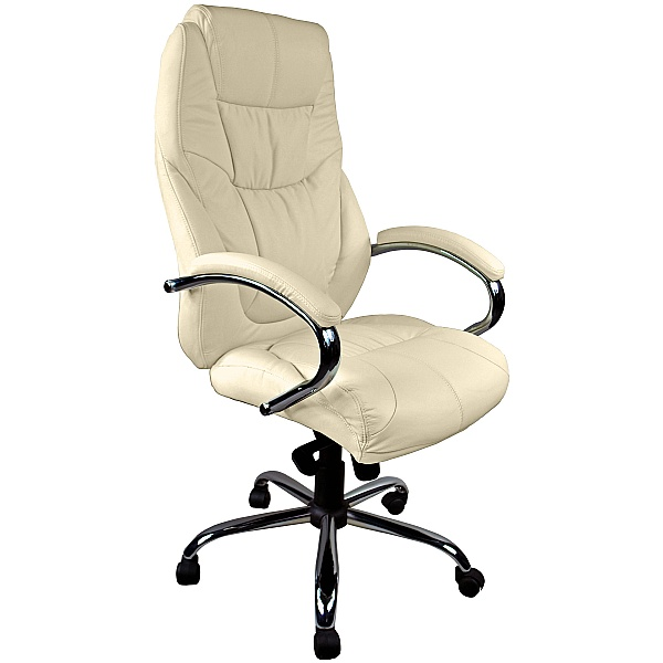 Genoa Leather Executive Office Chair Cream