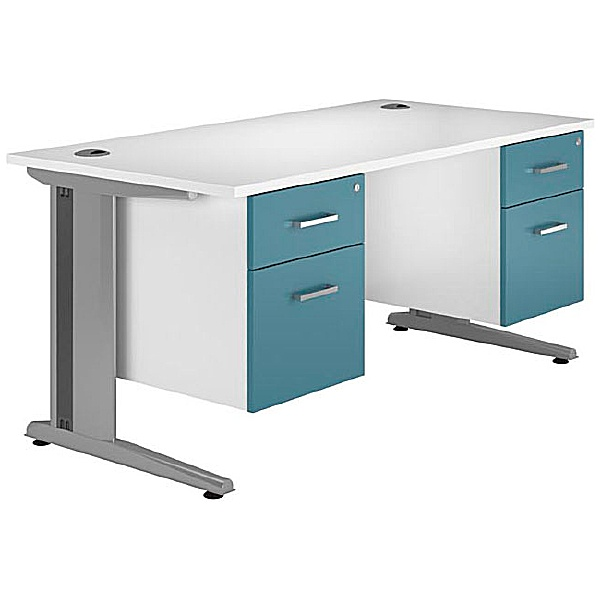 NEXT DAY Kaleidoscope Cantilever Deluxe Double Fixed Pedestal Desks